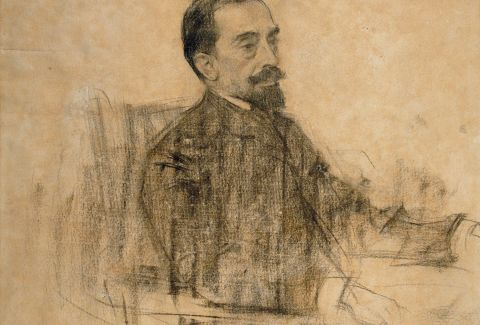 Joan Maragall, visto por Ramon Casas. Dominio Público