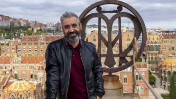 "Roger de Gràcia, presentador de ""Batalla monumental"", al Recinte Modernista de Sant Pau"