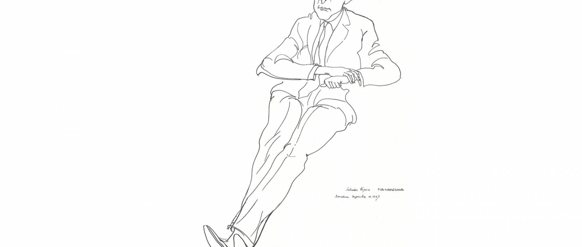 Retrat de Salvador Espriu per Josep Pla-Narbona. CC BY-SA 3.0 - Josep Pla-Narbona / Wikimedia Commons